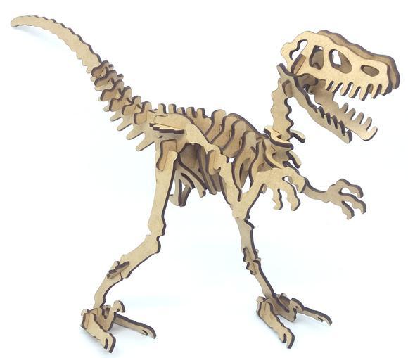 Dinossauro quebra cabeça 3d em mdf corte laser