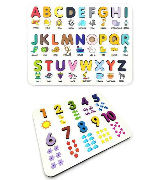Kit alfabeto e números ilustrado- brinquedo educativo