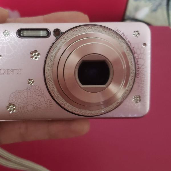 Camera fotografica sony cyber shot rosa com strass com