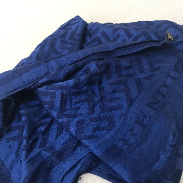 Pashmina lenço echarpe scarf fendi azul
