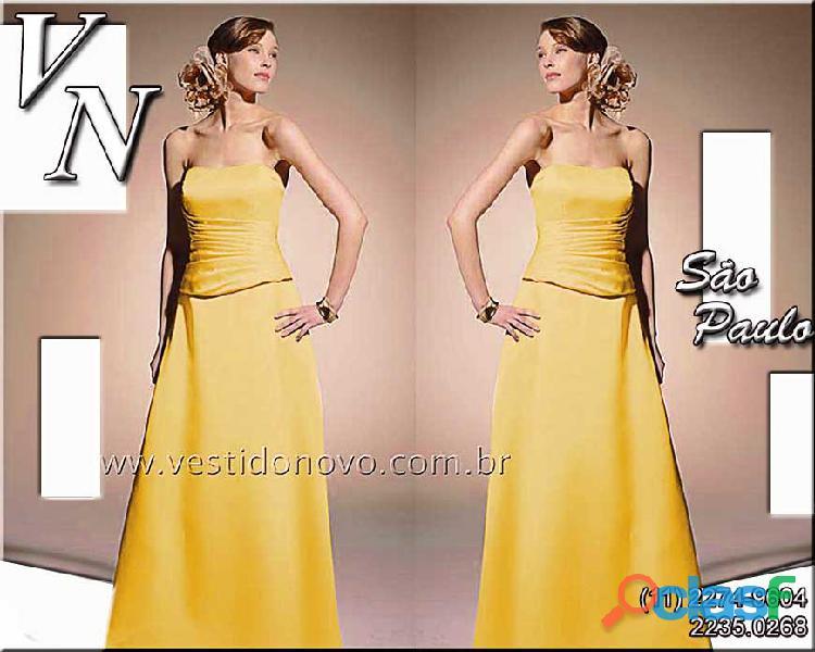 Vestido amarelo, madrinha de casamento em cetim importado