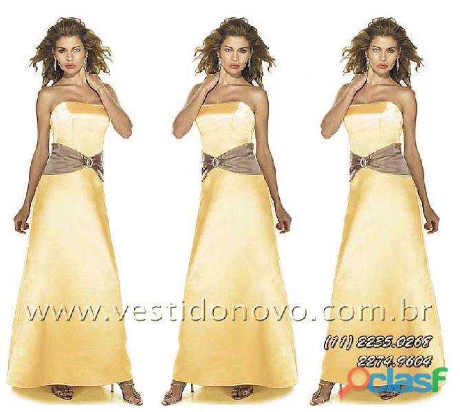 Vestido dourado madrinha de casamento