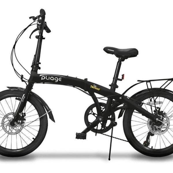 Bicicleta dobrável freio disco c/ bagageiro 7 veloc two
