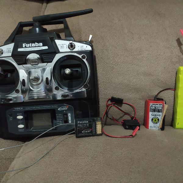 Rádio futaba t6ex, completo com receptor, baterias e chave