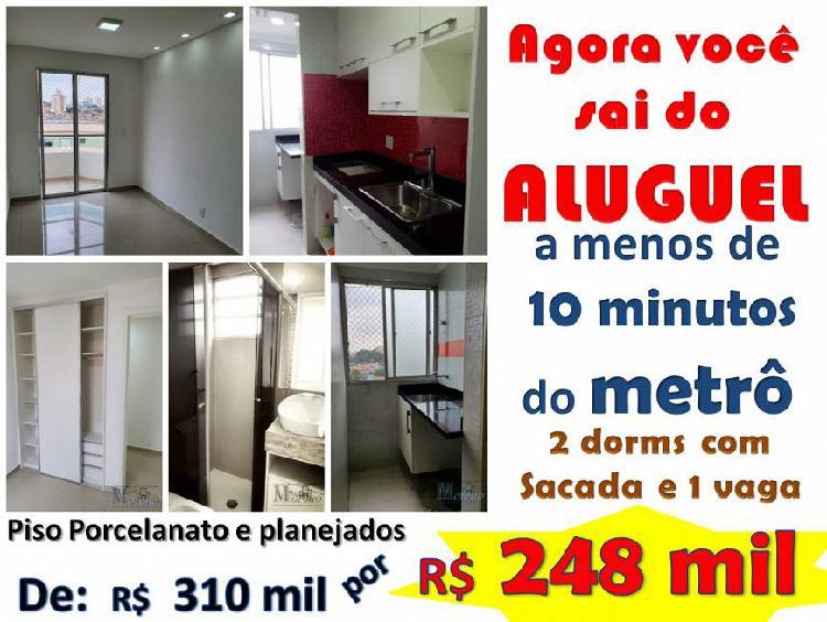 Apto 49 m² de 2 dorms e sacada com 1 vaga no metrô