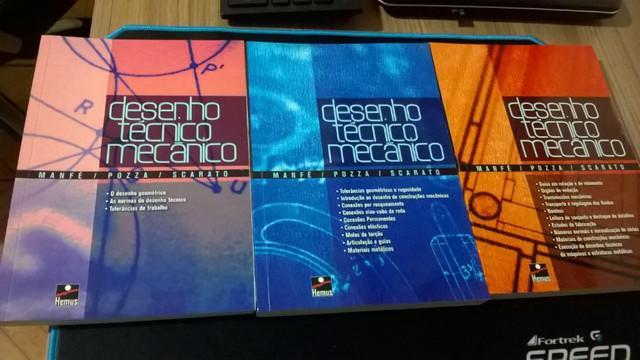 Coleção livros desenho técnico mecânico volumes 1, 2 e 3