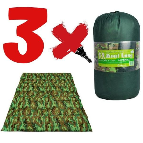 Kit colchonete casal 3 unidades camping + sacola para