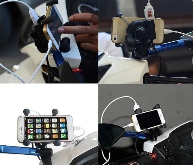 Suporte garra para celular moto universal com carregador usb