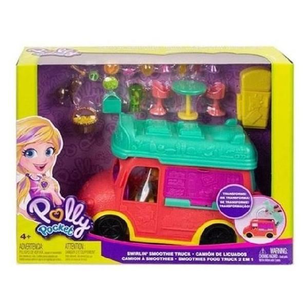 Veículo e boneca polly pocket food truck smoothies mattel