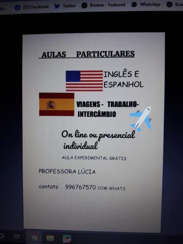 Aulas de espanhol e inglês