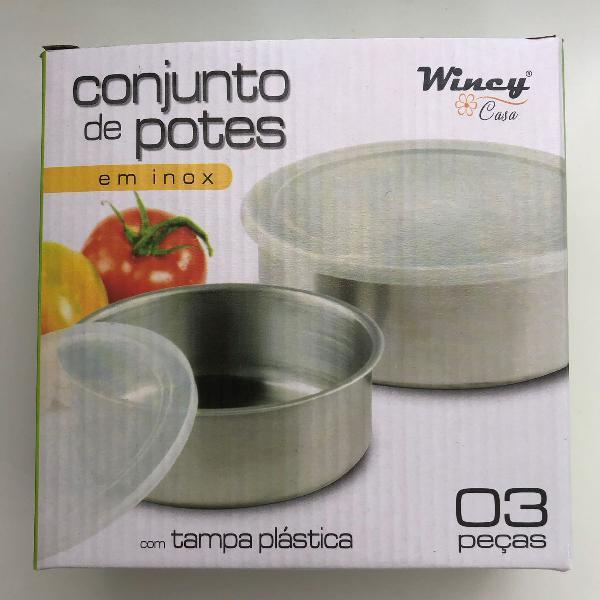Conjunto aço inox potes c/tampa plástica - 3 peças
