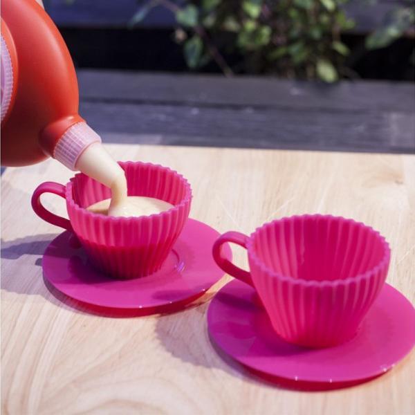 Conjunto com 2 xícaras para cupcake em silicone culinário