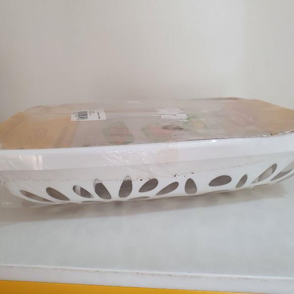 Fruteira plástica de mesa branca