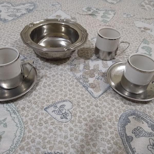 Jogo xícaras p/ café em porcelana veracruz