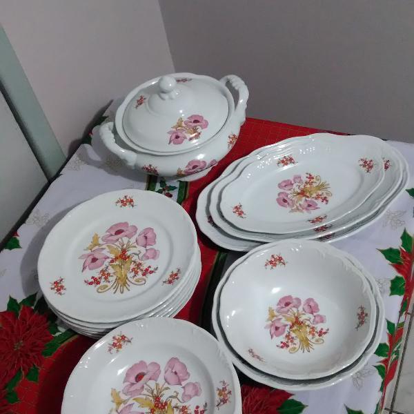 Jogo de jantar porcelana schmidt ano 1990 18 peças