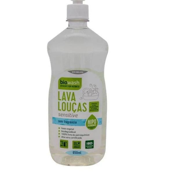 Kit com 3x lava louças detergente sensitive 650ml biowash