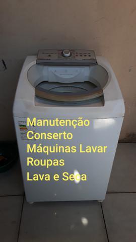 Manutenção conserto máquinas lavar roupas e lava e seca.