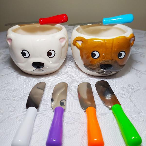 Petisqueira bulldog porcelana !!! ( 8 peças )