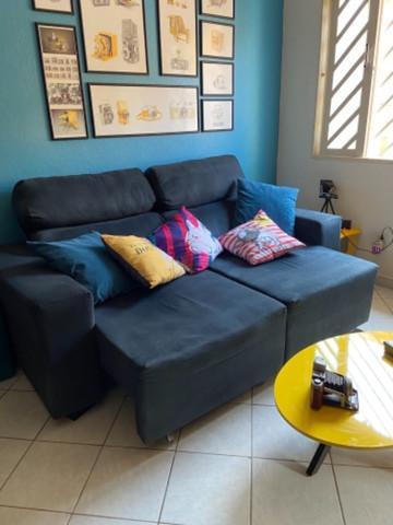 Sofá 3 lugares retrátil reclinável azul marinho