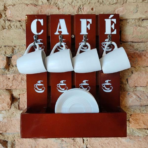 Suporte de madeira p/tomar aquele cafezinho