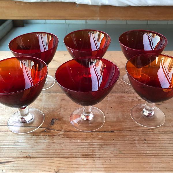 Conj 6 tacas sobremesa vidro vermelho