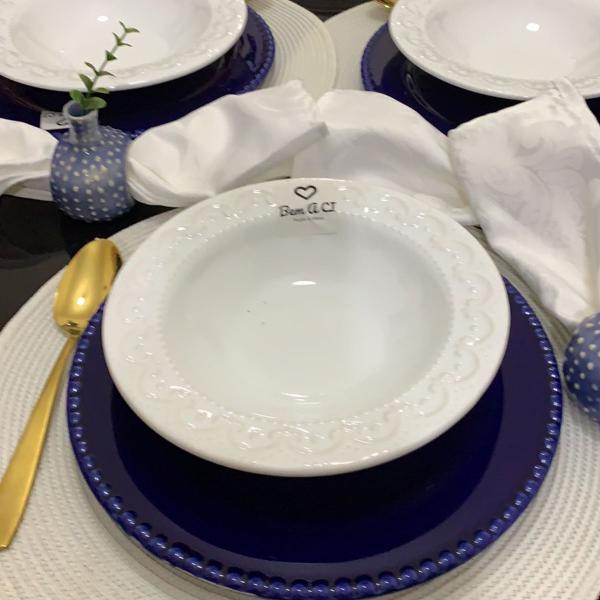 Jogo jantar 8 peças azul branco