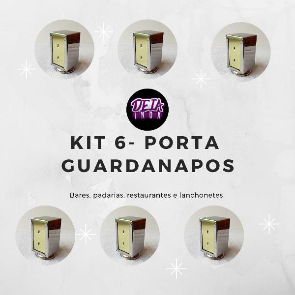 Kit 6 - porta guardanapos inox bares, padarias ,