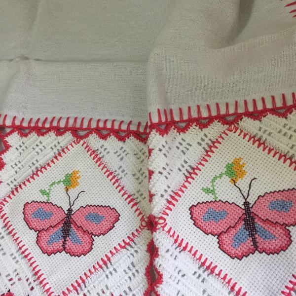 pano de prato borboleta rosa