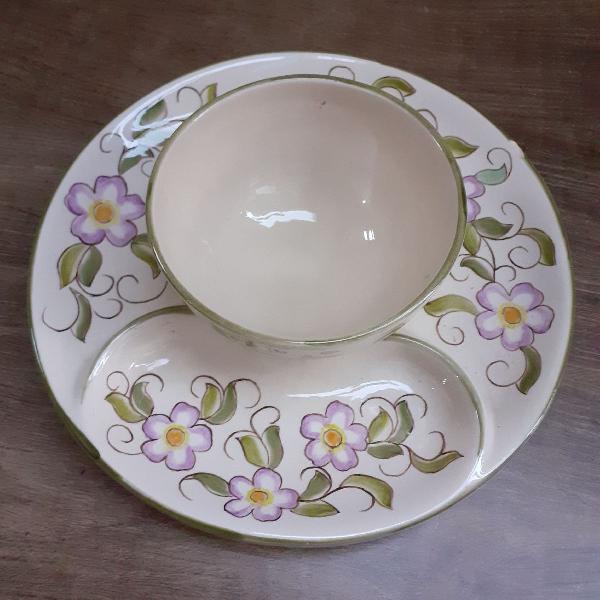 Pestqueira e molheira porcelana pintada a mão vintage