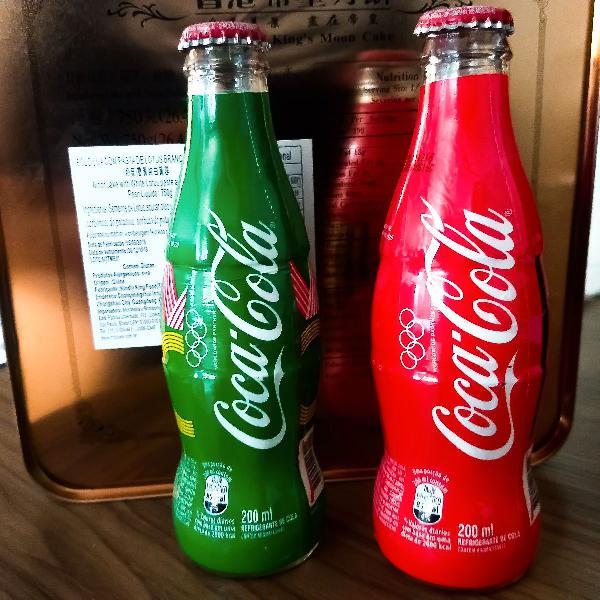 2 garrafas de vidro coca cola olimpíadas colecionáveis