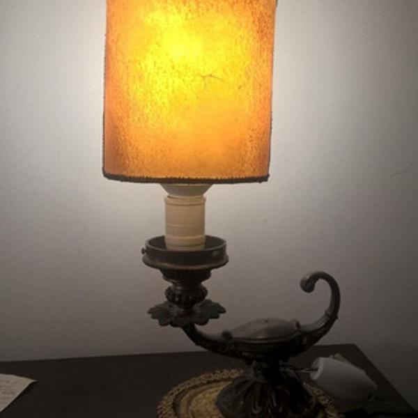 Abajur bronze luminaria lampada aladim cupula vintage cena