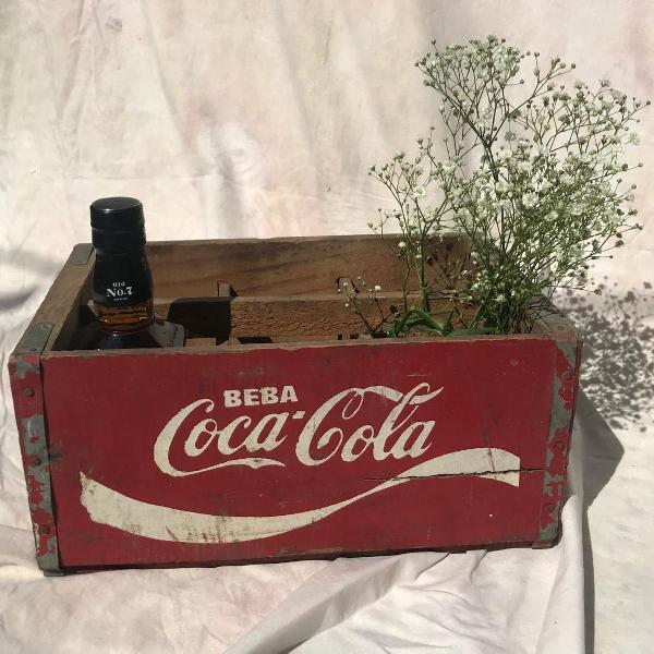 Caixa de garrafas coca cola em madeira de 85 - antiguidade