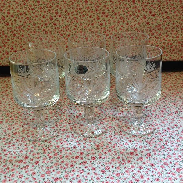 Conjunto taças cristal vintage lapidados a mão 6b