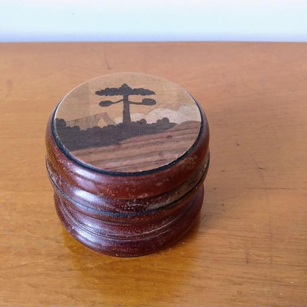 Mini porta jóias/ porta anel de madeira marchetada
