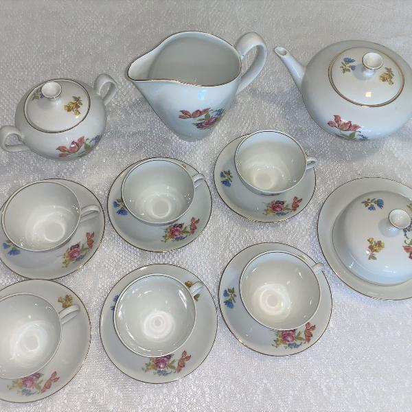 Raridade: antigo jogo de chá porcelana renner 16pç sem uso