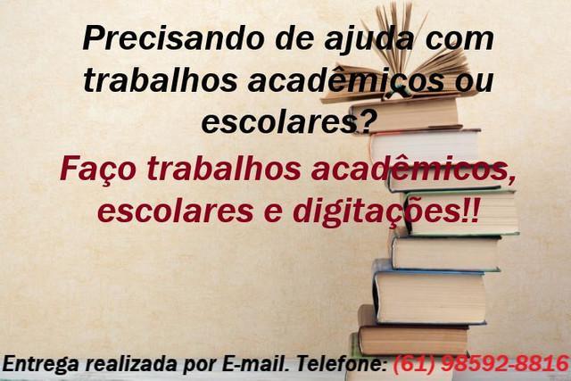 Trabalhos acadêmicos, escolares e digitações