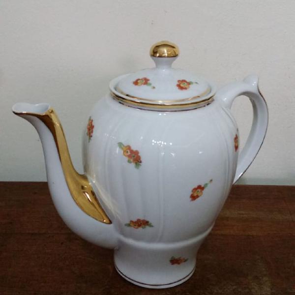 Bule café/chá porcelana monte alegre