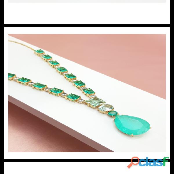 Colar fino cristal verde para noivas e madrinhas e debutantes.