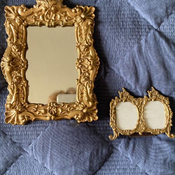 Conjunto de espelho e mini porta retratos