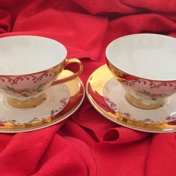Par xícaras chá porcelana daniele milionésimo