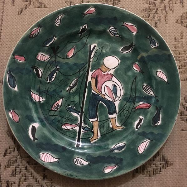 Prato de parede porcelana pintado à mão
