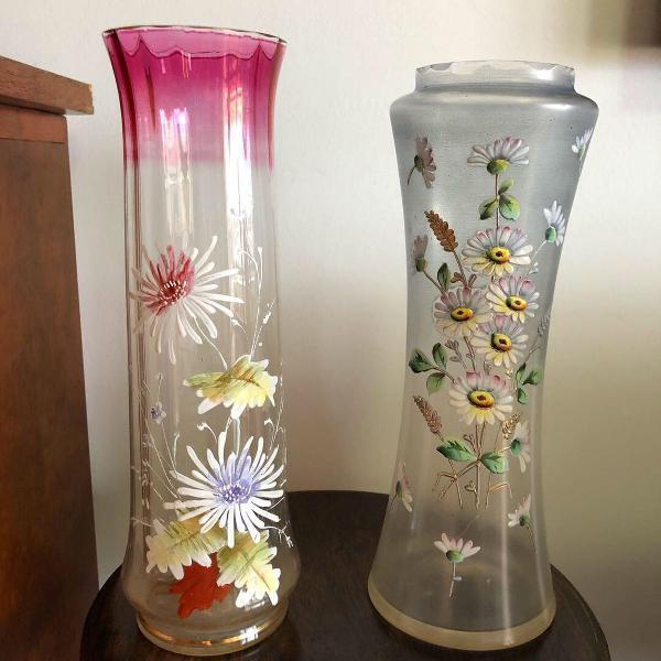 Vasos art nouveau cristal veneziano pintados à mão