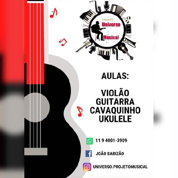 Aulas de violão, guitarra, cavaco, ukulele