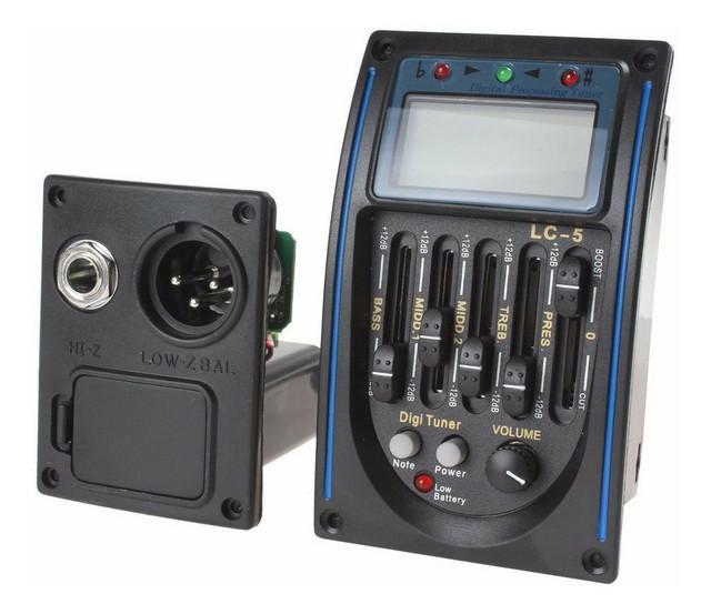 Captador lc5 pre amp equalizador p/ violão com afinador