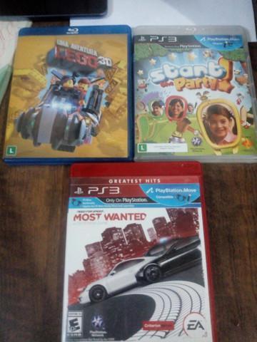 Dois jogos de ps3 e um filme lego 3d