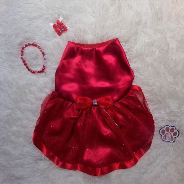 Moda pet - vestidinho vermelho brilhante + brinde