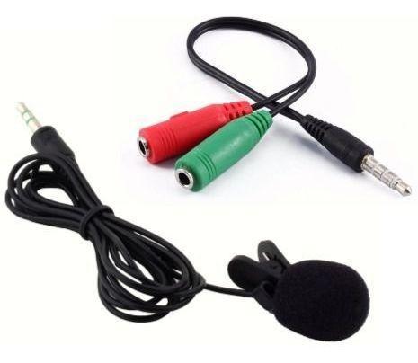 Novo] microfone de lapela + adaptador para celular