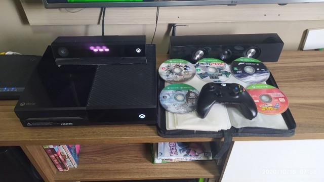 Xbox one 500gb com 1 kinect + 1 controle e 5 jogos