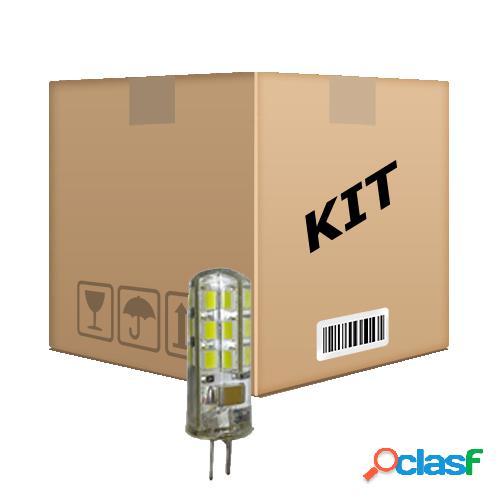 Kit 10 lâmpadas led g4 bipino 2w branco quente 110 v