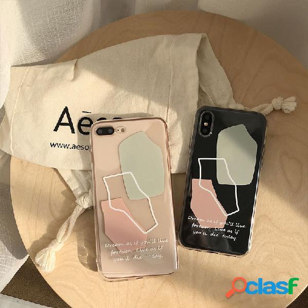 Phone case tpu simples estilo geométrico forma transparente feminino para iphone